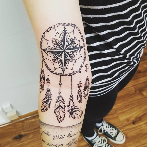 cool dream catcher and inscription tattoo for women