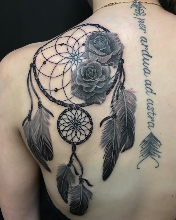 amazing back tattoos for women dream catcher and roses