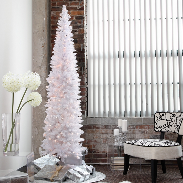 white christmas-tree-artificial-pre-lit-pencil-christmas-tree-