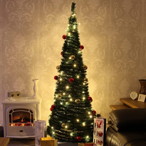 small living room christmas decor-pencil-christmas-tree-artificial-trees
