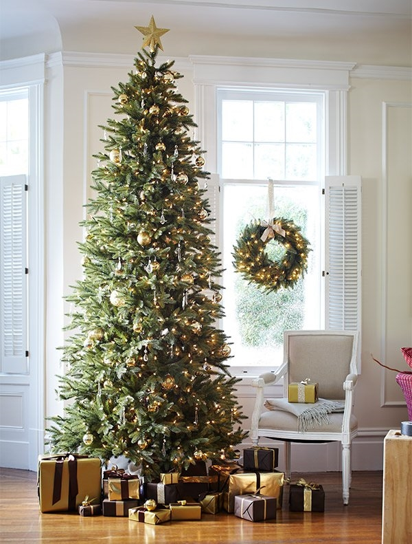 slim-christmas-tree-ideas-home-decoration-ideas-gold ornaments star topper