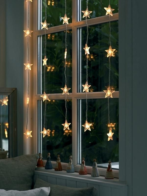 christmas window decorations string lights stars