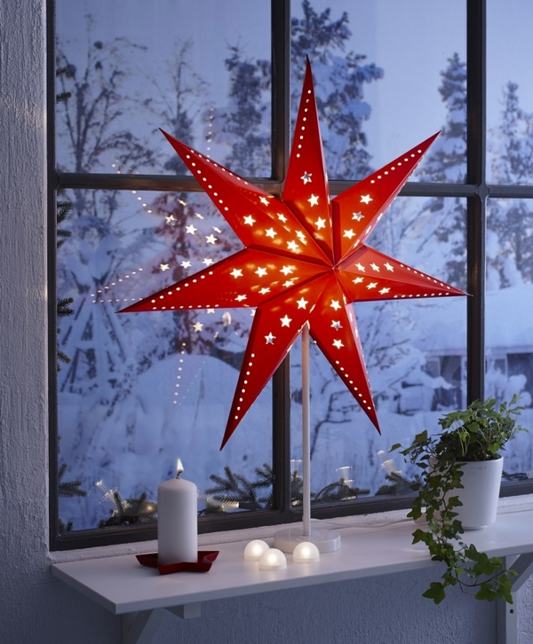 Christmas window decorating ideas red christmas star candles