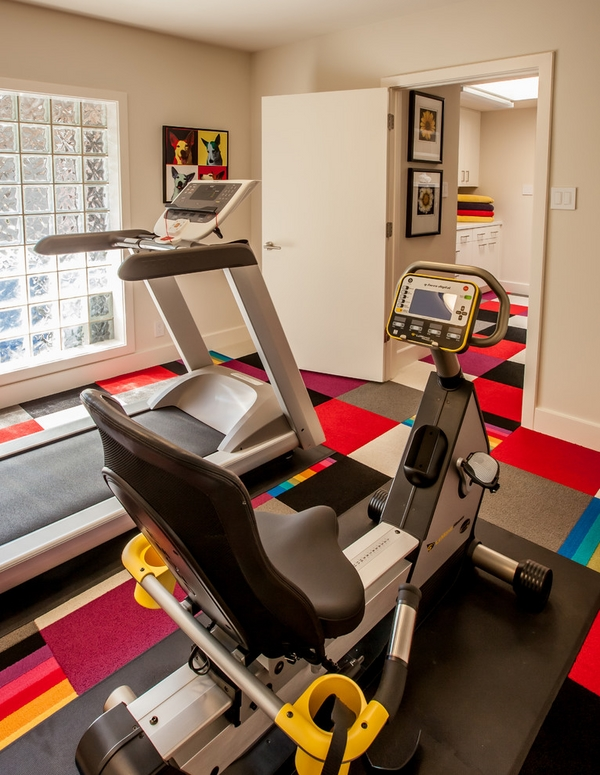 contemporary home gym affordable flooring ideas colorful carpet tiles