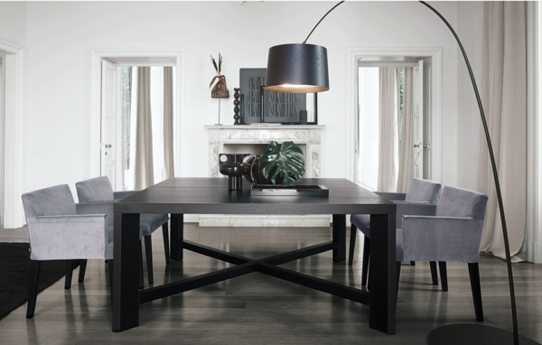 Dining room furniture design dinig chairs gray upholstery classic wood furniture