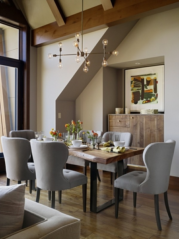 elegant dining room design gray dining chairs wooden table