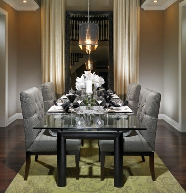formal ideas gray plush chairs glass table