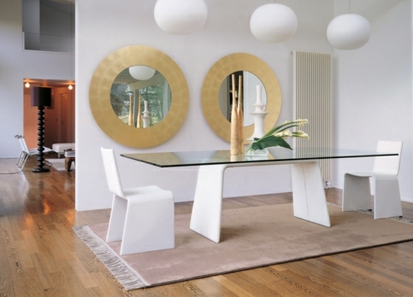 glass table white chairs round wall mirrors