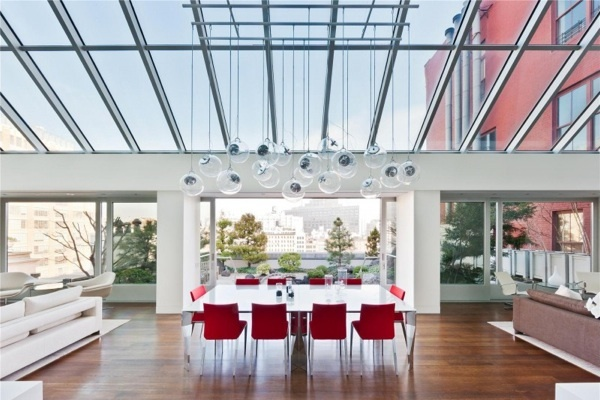 modern white table red chairs pendant lamps