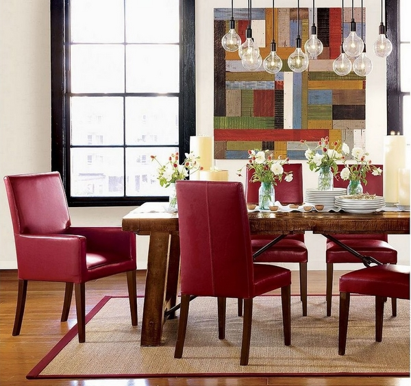 modern red leather wooden table hanging pendant lamps