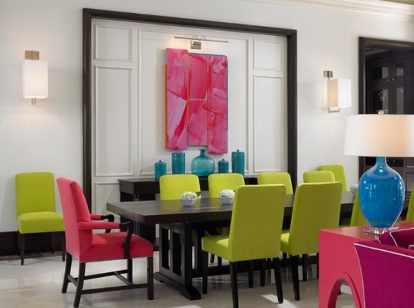 strong colors dining chairs solid wood table