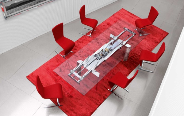 modern red carpet glass table red chairs