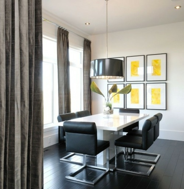 black leather white table yellow wall decoration