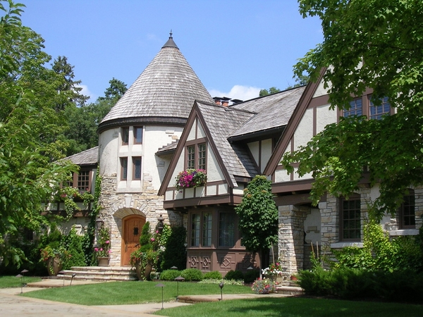 tudor homes exterior colors pitched roofs