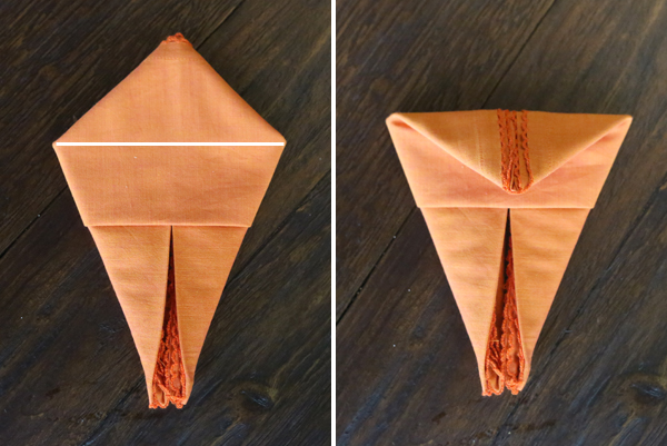 Easter table setting bunny napkin folding tutorial step 6