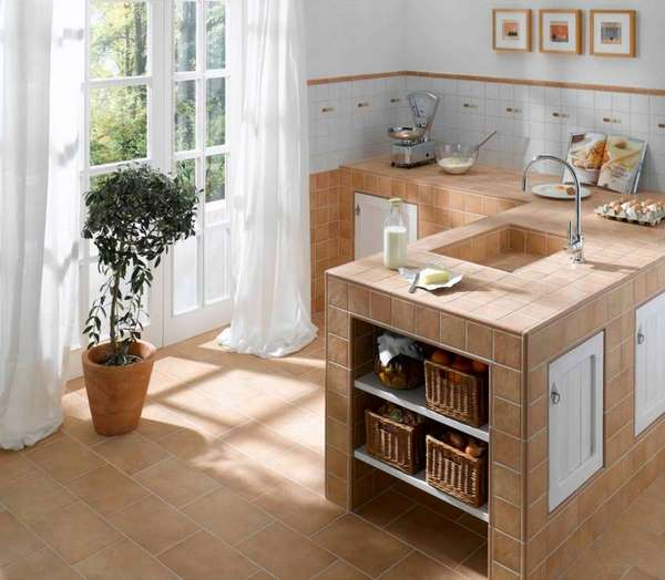 small kitchen design with tiled countertop