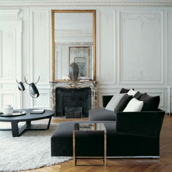 Feng Shui living room furniture ideas round table mirror