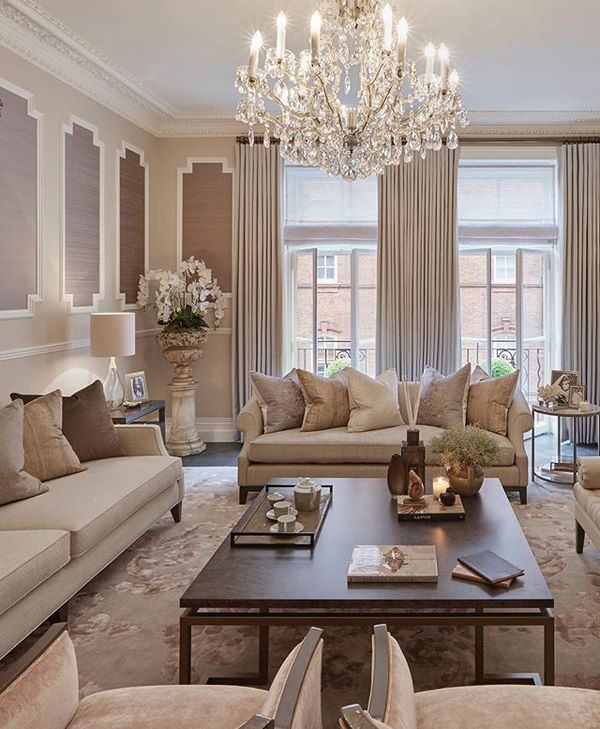 stylish and elegant formal living room in neutral shades