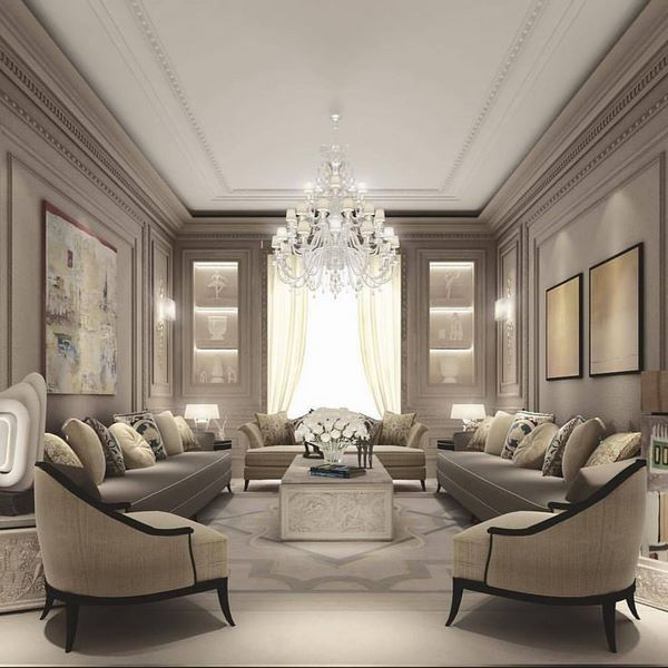 chic drawing room in neutral beige color palette