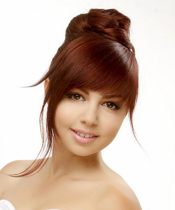 prom hairstyles for thin hair updo with bangs