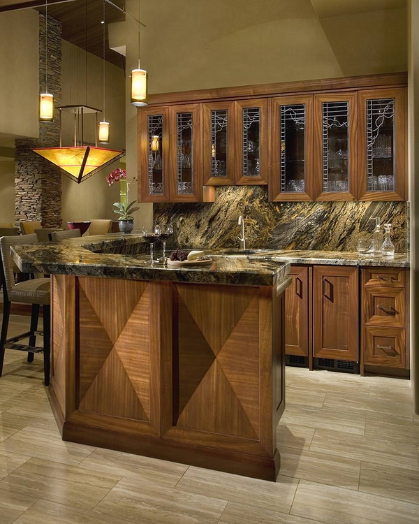contemporary home bar design wood cabinets glass fronts-granite-backsplash-and-countertops