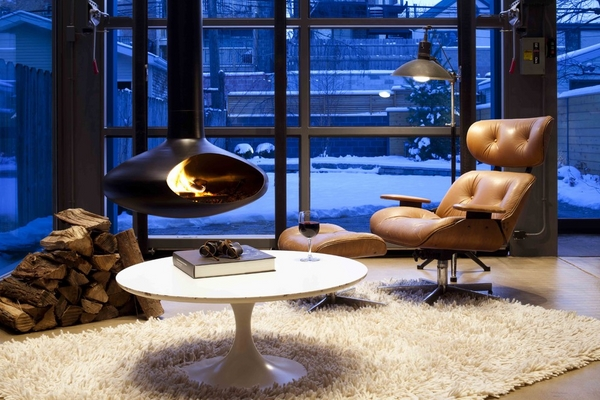 wood burning hanging fireplace designs contemporary interior deisng