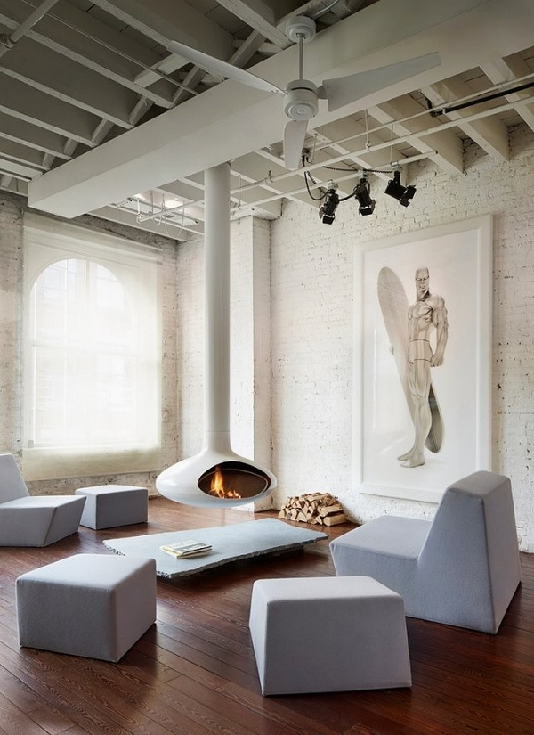 white suspended fireplace living room furniture lounge penthouse apartment