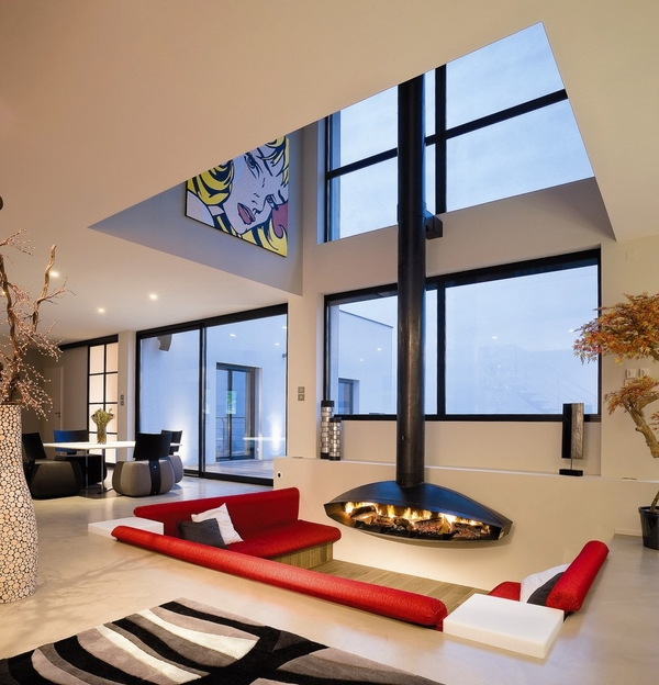how to choose hanging fireplace living room design red sofas