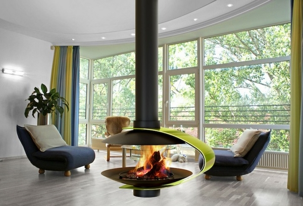 gas burning open fireplace suspended fireplace designs