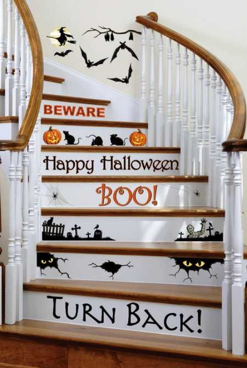 cool-creative-halloween-decorations-DIY Halloween decoration ideas stairs stickers