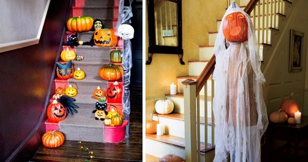 halloween-home-decorating-ideas-stairs ghost pumpkin head
