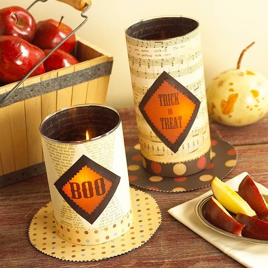 DIY-halloween-decoration-ideas-candle holder old tins