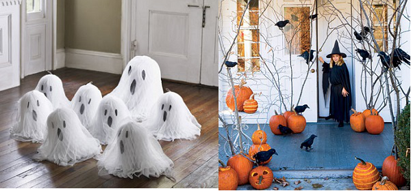creative-Halloween-decoration-ideas-ghosts pumpkins paper crows