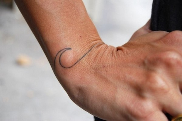 small wave tattoo on wrist for men and women
