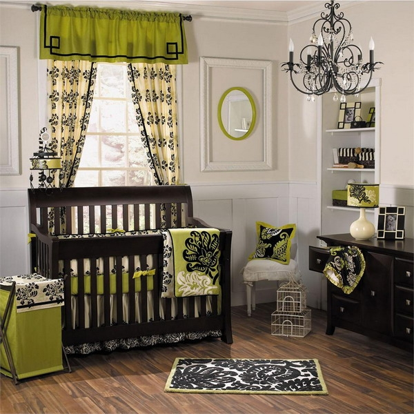 bold colours baby bedding set green black
