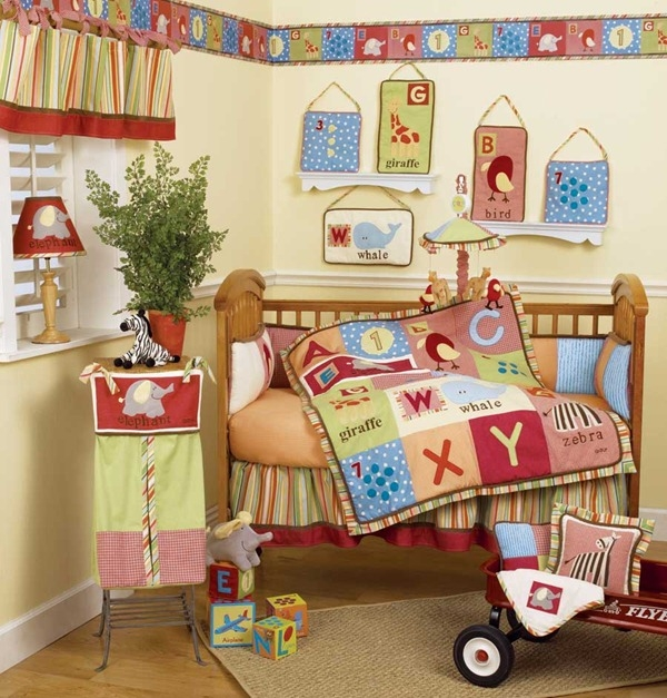 colourful baby bedding design letters blanket and animals
