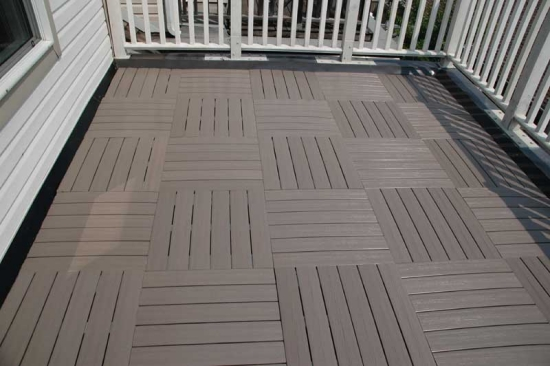 Deck tiles wood click system