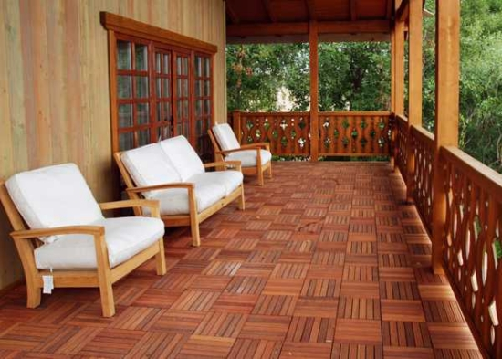 deck flooring wooden tiles lounge chair