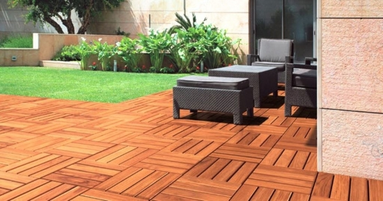 Floor tiles wooden deck