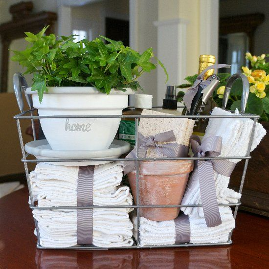 housewarming-gifts-ideas basket flower pot