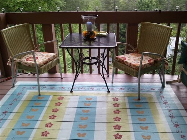 deck how to faux rug on wooden creative DIY decorations