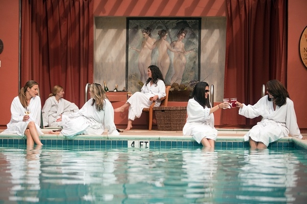 spa themed bachelorette party swimming pool