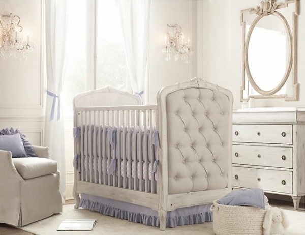 interior quilted crib white blue