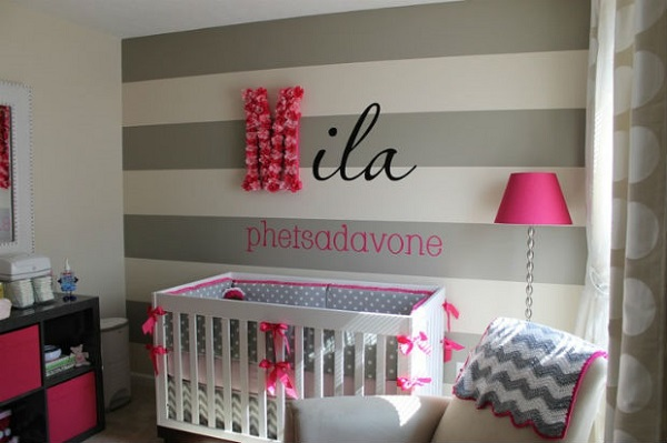 nursery room design decorating ideas gray stripes purple accents