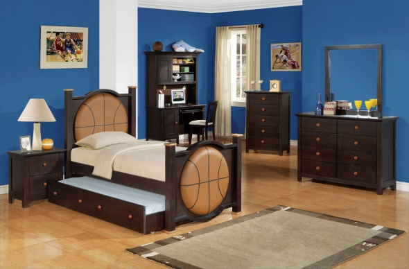 Basketball room furniture brown blue
