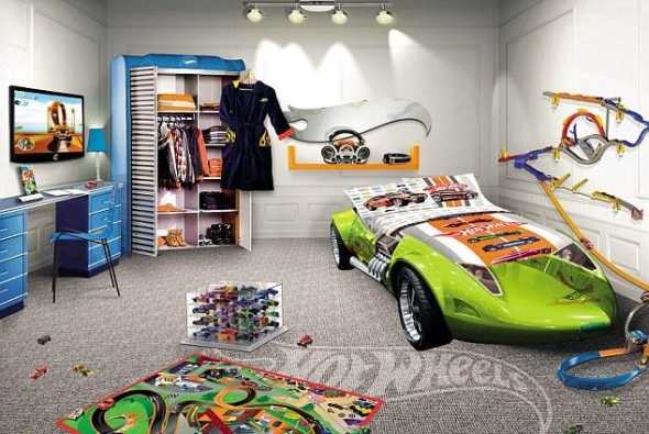 Sports car green bed design kids room