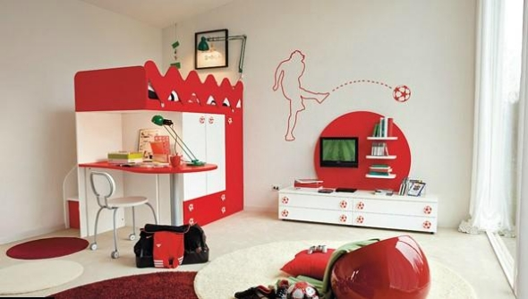 Design ideas children room soccer red white