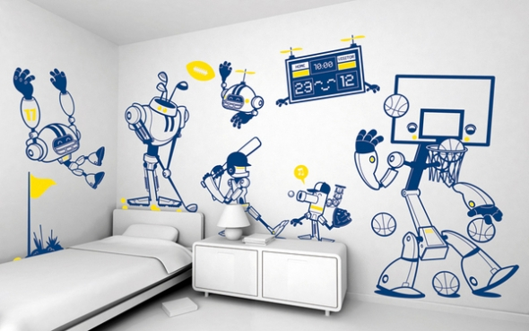 boys room wall stickers sports
