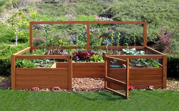 backyard wooden raised beds patio decorating