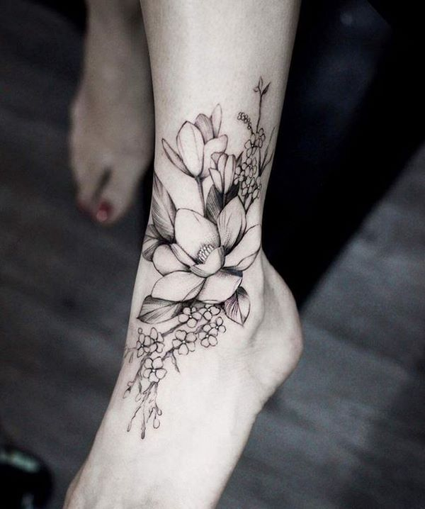 flower tattoos ideas ankle and foot designs